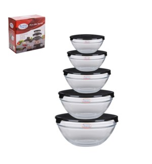 Glass Bowl 5pcs without Decal, Black lid                     643700199485