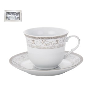 Tea Cup and Saucer 6 by 6, 7.5oz, Porcelain                  643700288820