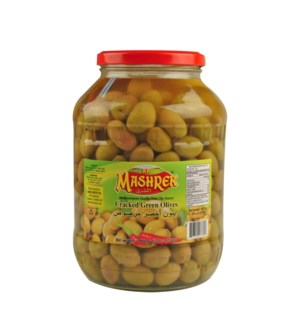 Al Mashrek Cracked Green Olives 52oz 1.5kg                   643700177803