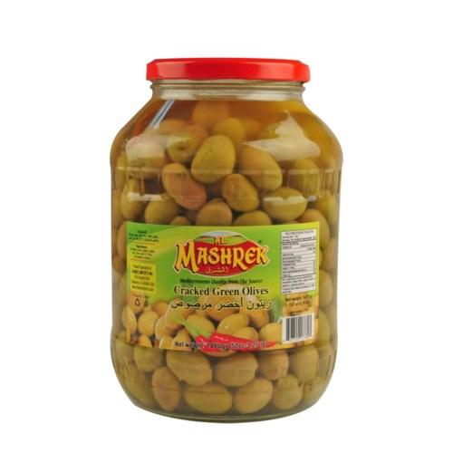 Green Olives Cracked 3.25lb / 52oz Al Mashrek                643700177803