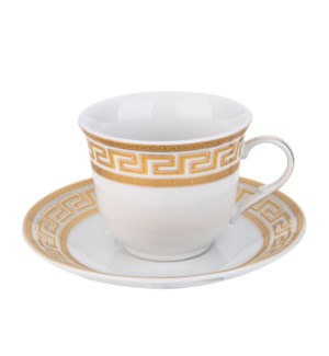 Tea Cup and Saucer 6 by 6, 7.5oz, Porcelain                  643700288974