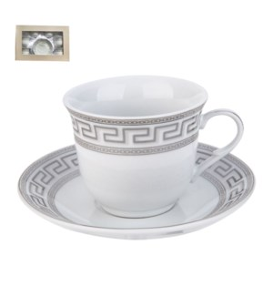 Tea Cup and Saucer 6 by 6, 7.5oz, Porcelain                  643700288837