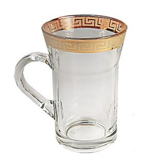 Tea Glass 6pc set Gold Rim design 10oz Celion                643700009166