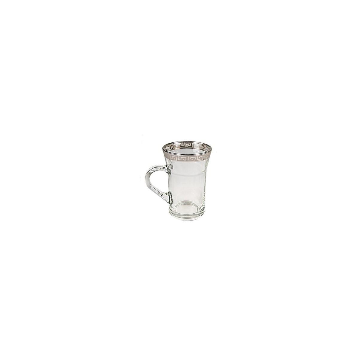 Tea Glass 6pc set Silver Rim 10oz Celion                     643700022714