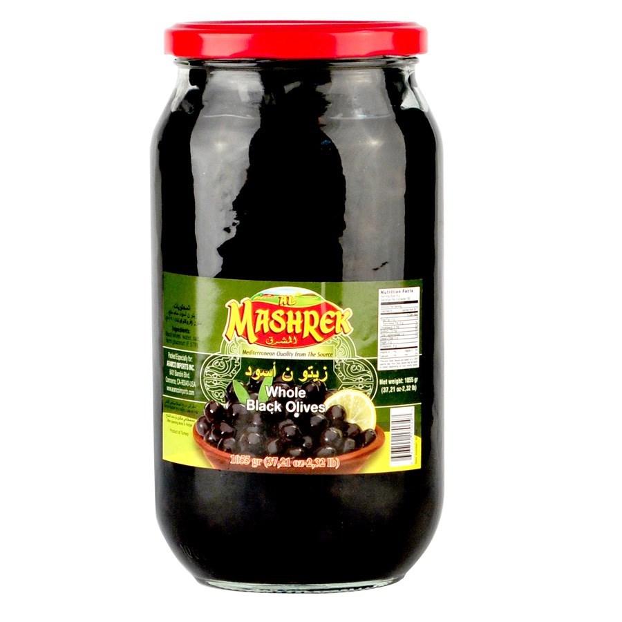 Black Olives Glass 1000g Al Mashrek                          643700170347