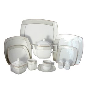 Dinner Set porcelain 32pc Svc 8, BL and YE                   643700221261