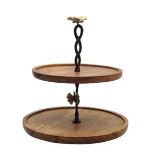 Cake Stand 2 Tier Wood 10x12x14in                            403352401006