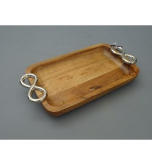 Wood Rectangular Tray with Twin Ring Handle                  643700343987