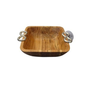 Wood Square Small Bowl with Twin Ring Handle                 643700344014