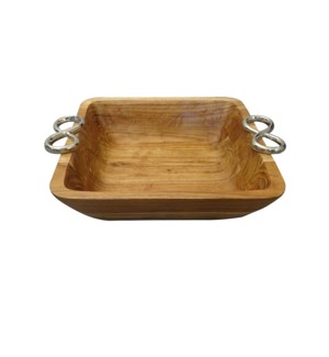 Wood Square Large Bowl with Twin Ring Handle                 643700344021