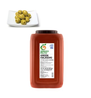 Green Halkidiki Pitted Olives 22lbs Giant 121-160            521300877071