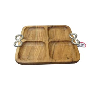 Wood Square Tray 4 Parts with Twin Ring Handle               643700344076