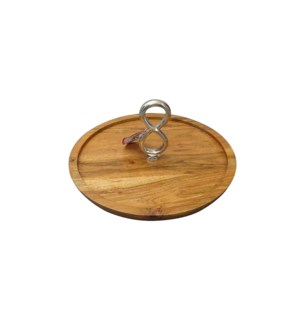 Wood Round Cake Plate with Twin Ring Stand                   643700344083