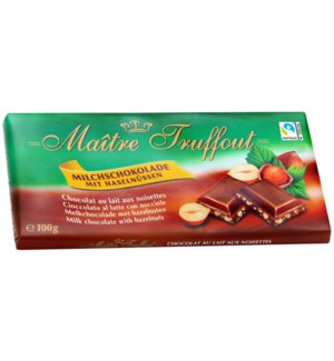 Maître Truffout Milk chocolate with hazelnut 100g            900285904254