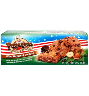Papagena Choco chip cookies with hazelnut cream filling 130g 900285907532