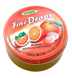 Woogie Fine Drops Orange Candies 7oz 200g                    900285909053