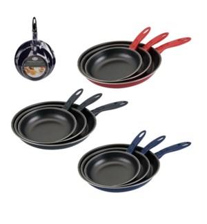 Fry Pan 3pc Set 7, 9.5, 11in, Carbon Steel Nonstick Coating, 643700289919