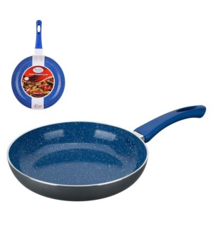 Fry Pan Aluminum12in Blue Ceramic with Marble, Silver painti 643700210791