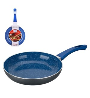 Fry Pan Aluminum8in Blue Ceramic with Marble, Silver paintin 643700210777