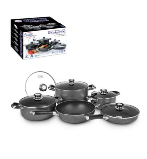 Cookware Set 10pc AluminumNonstick coating, Gray             643700029812