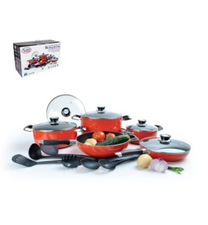 Cookware Set 16pc Aluminum Nonstick coating, Red             643700156846