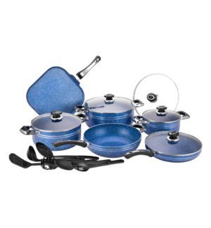 Alum Cookware 17pc Set Blue Nonstick with Marble Coating Blu 643700351173