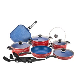 Alum Cookware 17pc Set Blue Nonstick with Marble Coating Red 643700351180