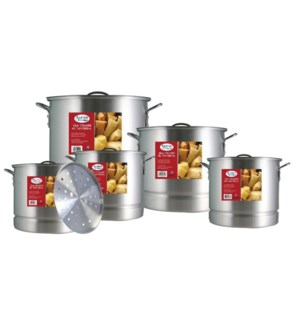 Stock Pot 15pc Set Aluminum with Steamer 20, 24, 32, 40, 52Q 643700063878