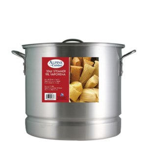 Aluminum Stock Pot 20QT with Lid, Steamer                    643700093967