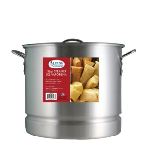 Aluminum Stock Pot 32QT with Lid, Steamer                    643700093981