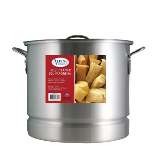 Stock Pot Aluminum 32QT with Lid and Steamer                 643700093981