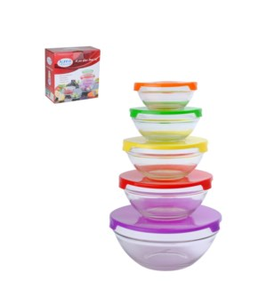 Glass Bowl 5pcs without Decal, 5 Color lids                  643700145147