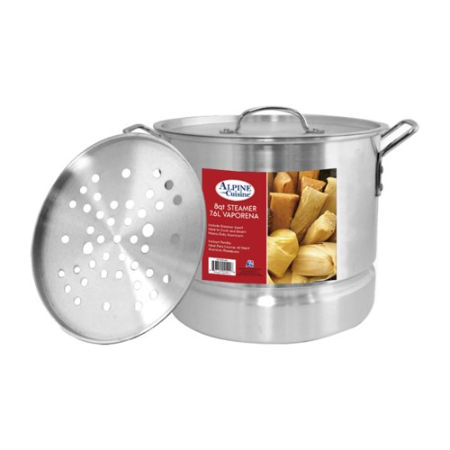 AluminumStock Pot 8QT with Lid, Steamer                      643700094018