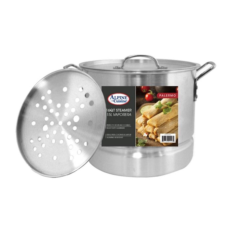 AluminumStock Pot 16QT with Lid, Steamer                     643700094032