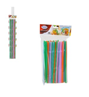 Straw 100pc Set PP 8in Clip Strip Assorted.Color             643700267610