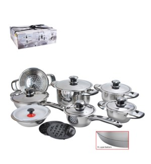 Cookware Set 16pcs SS Heavy Gage, 7 layers bottom            643700161123