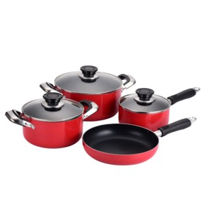 """Alu. Cookware 7pc Set, Non-stick coating and Red painting,  643700345318"