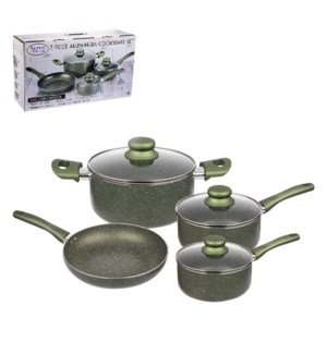 Cookware Set 7pc Aluminum Green Nonstick Coating with Marble 643700313874