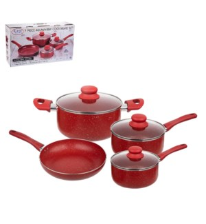 Cookware Set 7pc Aluminum Red Nonstick Coating with Marble,R 643700313867