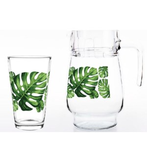 Glass Pitcher Set With 4pc Mug,With Green Leaf Decal         643700292681