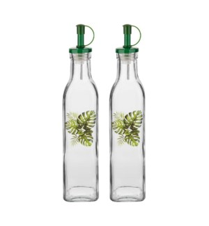 Glass Oil Bottle 2pc Set 9.5Oz With  Green Leaf Decal        643700292728