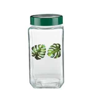 Glass Canister 71.5Oz With  Green Leaf Decal                 643700292759