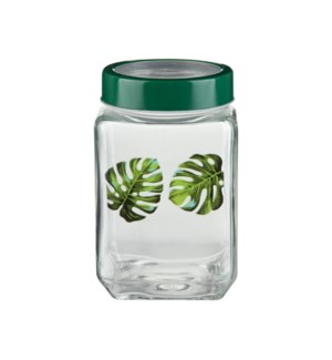 Glass Canister 57.5Oz With  Green Leaf Decal                 643700292766
