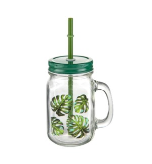 Glass Mason Jar 15.5Oz With Green Leaf Decal                 643700292803