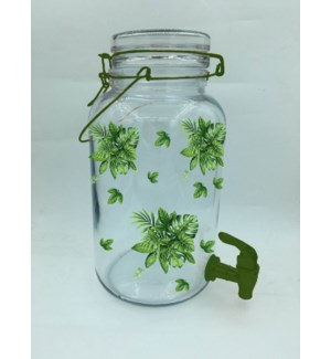 Glass Beverage Dispenser 0.92 Gal  With Green Leaf Decal     643700292834