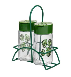 Glass Canister 2pc Set 4Oz with Metal Rack,Green Color       643700292865