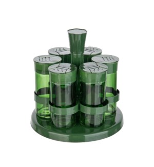 Glass Spice Bottle 6pc Set 3Oz with Metal Rack,Green Color   643700292872