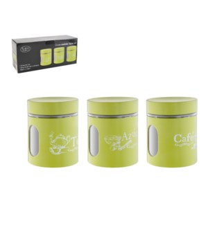 Glass Canister 3pc Set 20.5Oz White Painting                 643700288448