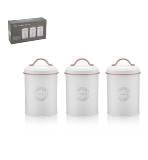 "Tin Canister 3pc Set 4.5""x4.5""x7.5"" White                    643700290892"