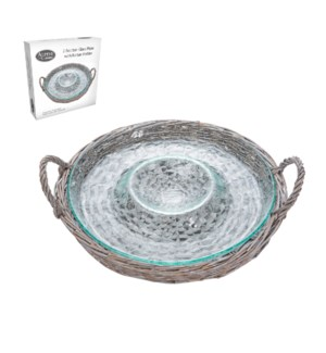 Two Section Glass Plate with Rattan Holder                   643700291134